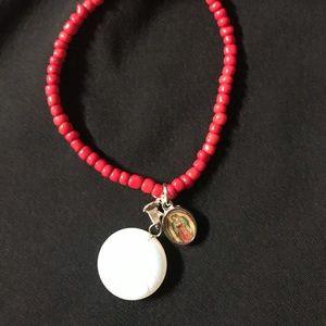 Jewelry - Bracelet White Quartz and Virgin Mary